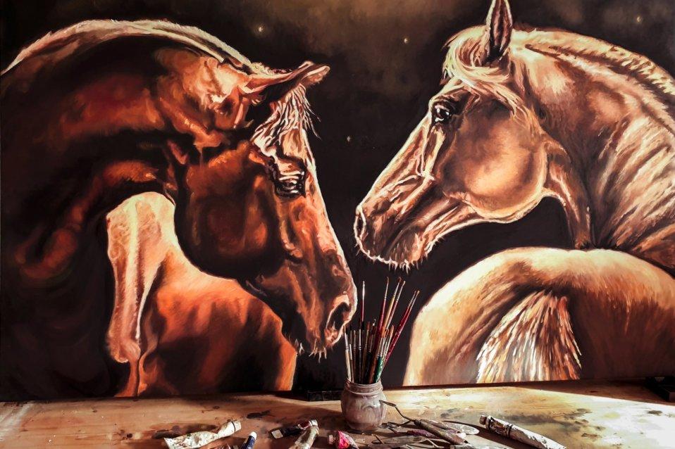 Quadro con cavalli - Sandra Petreni - Pittura e Decorazione