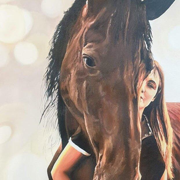 Ritratto dipinto di donna con cavallo