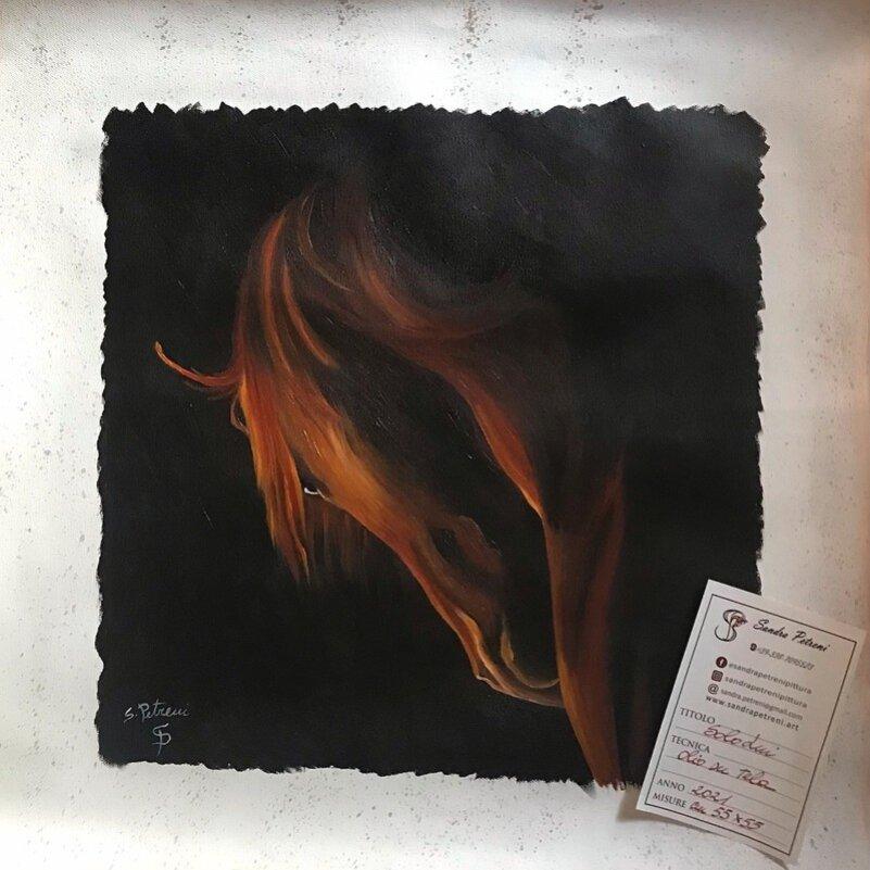 Pergamena dipinta a olio con testa di cavallo